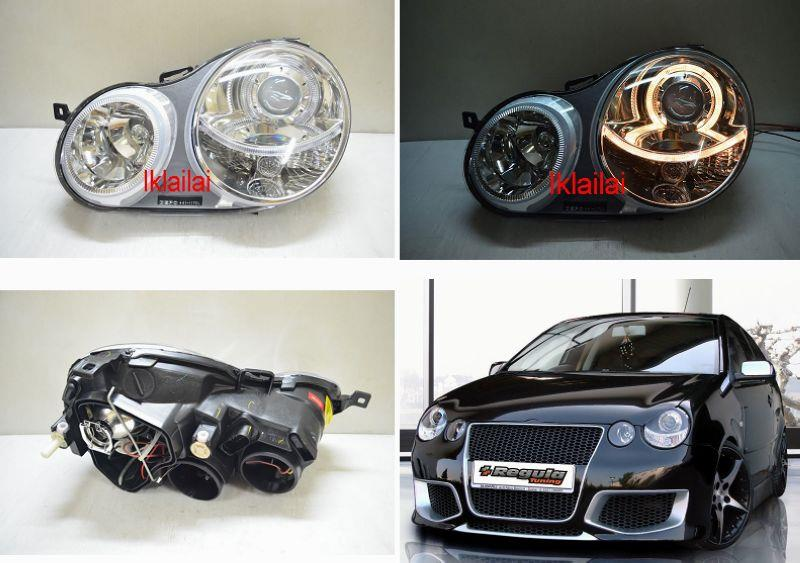 DEPO VW POLO '02-05 LED Ring Projector Head Lamp Black/Chrome Housing
