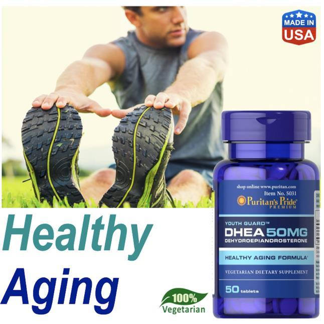 DHEA 50mg, 100% Vegetarian, Immune, Healthy Aging, Energy (USA)