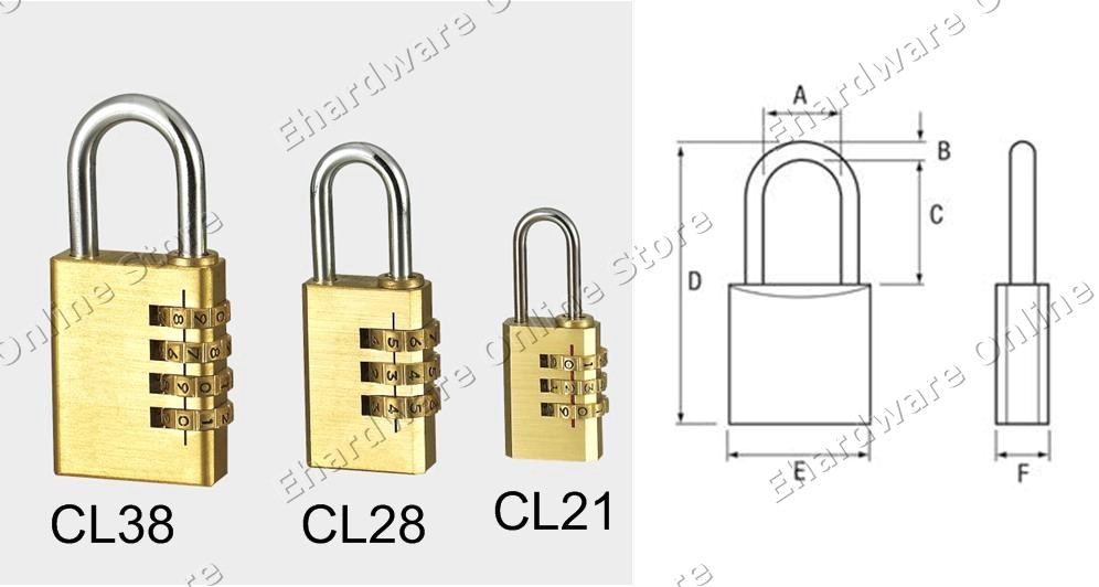 Dial Tumbler Resettable Brass Combination Padlock (CLOS)
