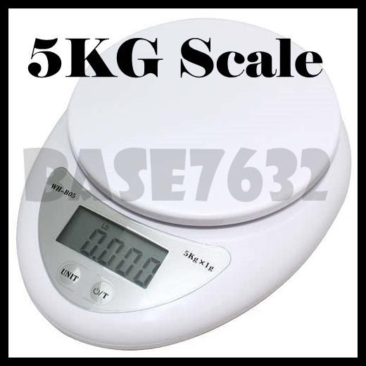 Digital Electronic Portable Kitchen Food Weighing Scale 1g- 5kg Scale