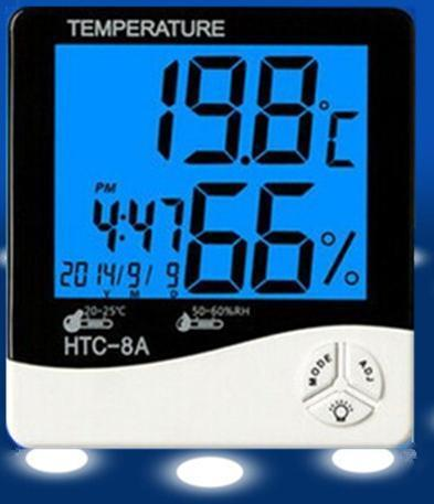 Digital LCD Temperature Humidity Meter HTC-8 Backlight Clock