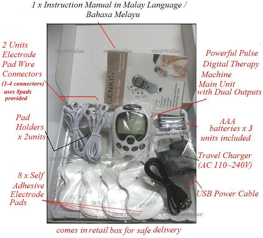 Digital Therapy Massager.Dual Outputs+2 Extension Wires+8 Electro Pads