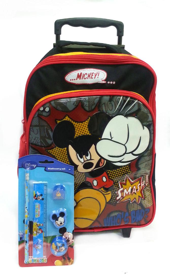 Disney Mickey Mouse School Trolley Bag Set with Stationery Pack