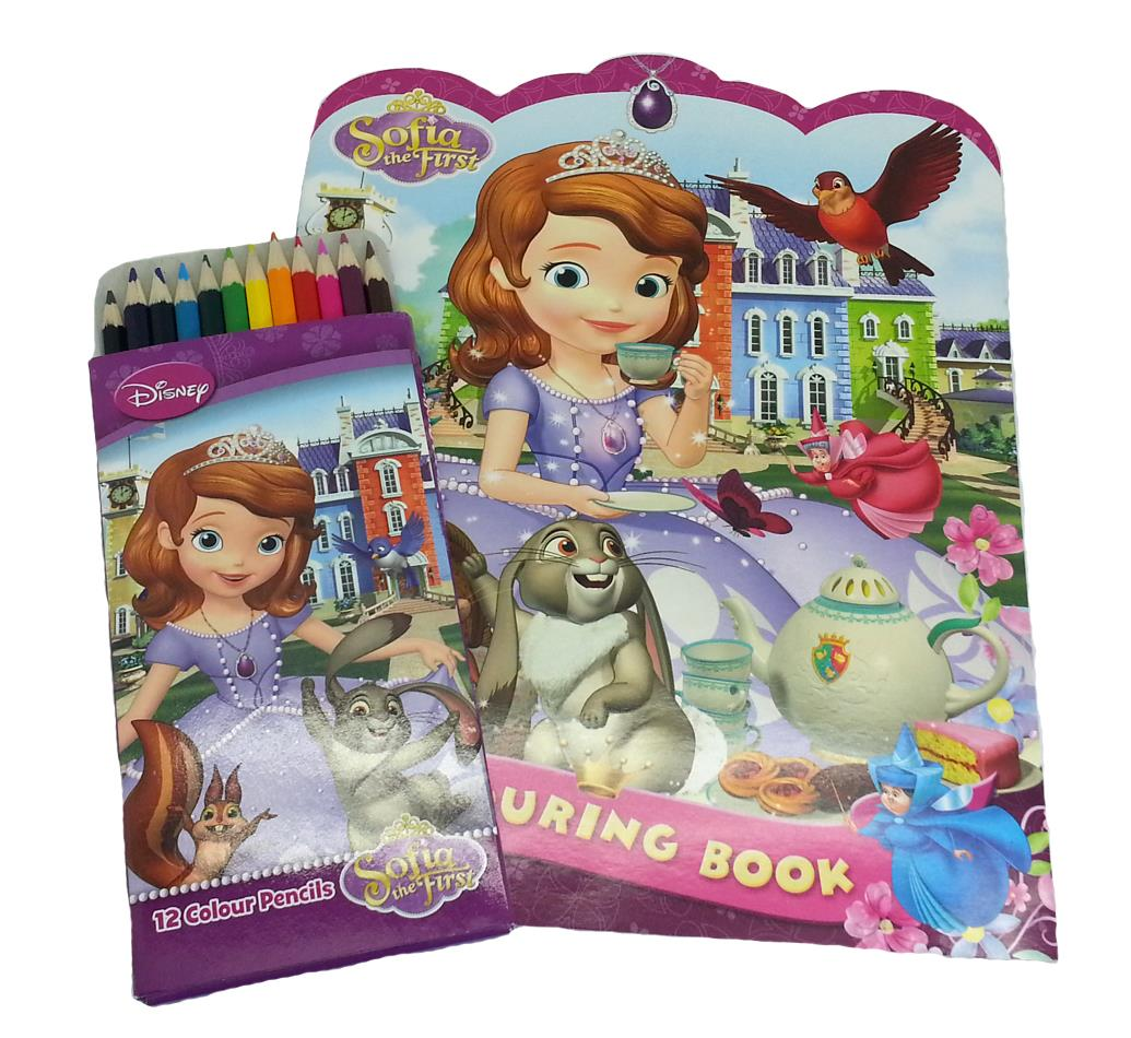 Stress relief coloring books disney - Disney Sofia The First Coloring Book 12 Long Color Pencils Licensed