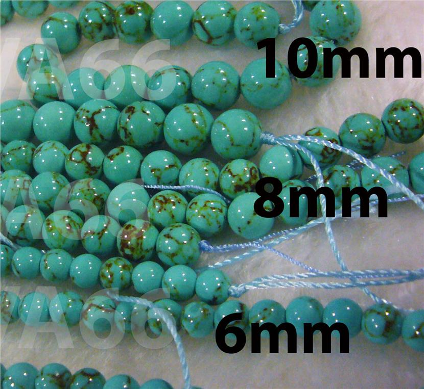 DIY Green Turquoise Blue 6mm 8mm 10mm Gemstone Smooth Round Gemstones