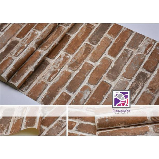 DIY wallpaper brown brick pattern (need glue)