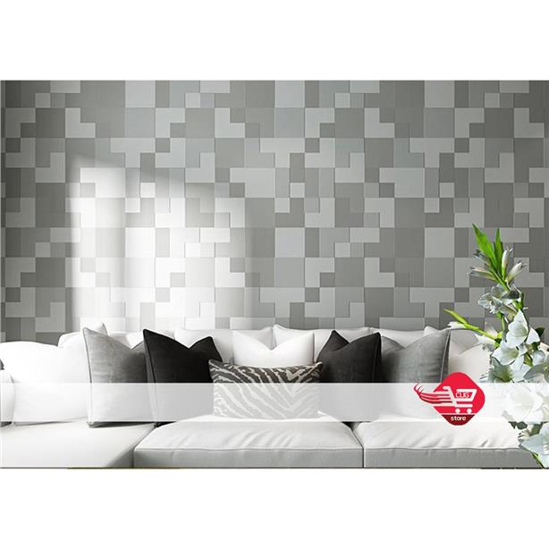 DIY Wallpaper with Tetris Pattern Grey (Not Sticker)