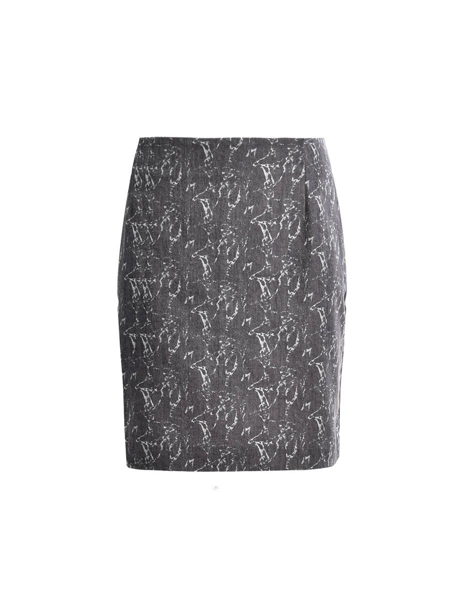 Dk Brown Printed Mid Length Skirt