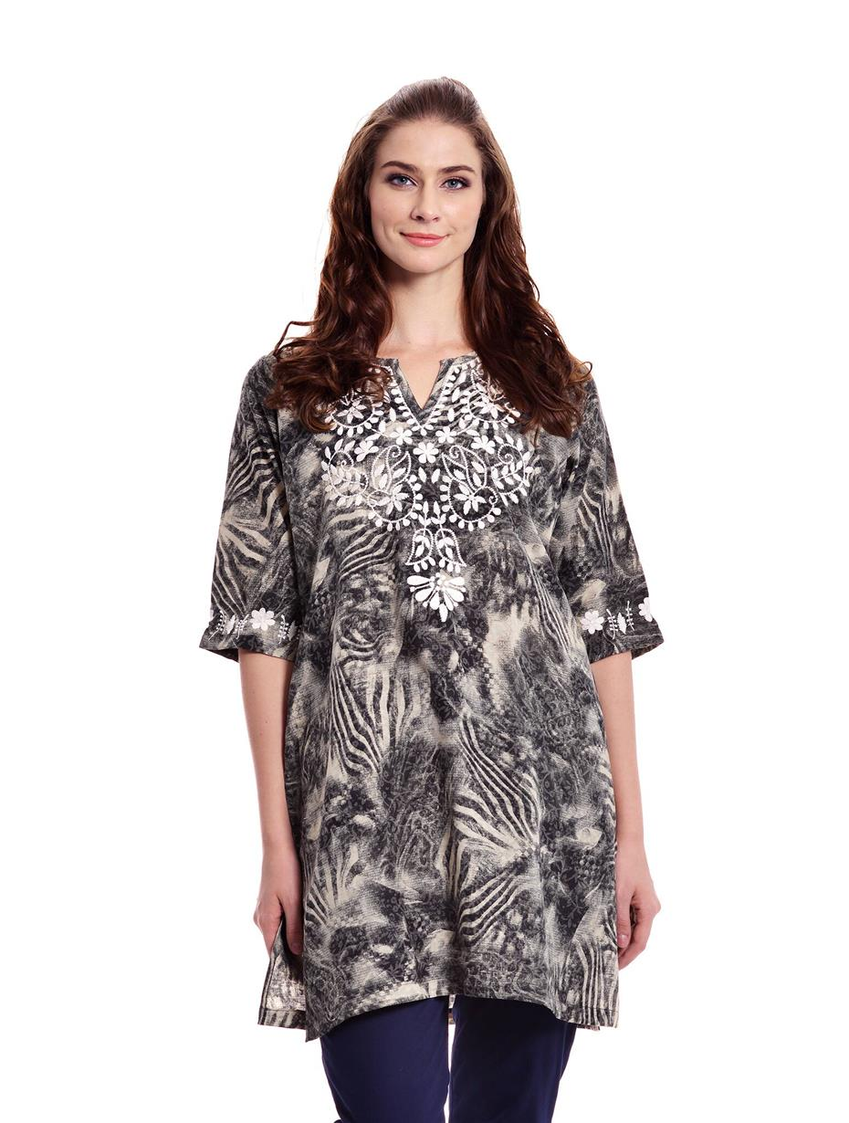 Dk Grey 3/4 Sleeve Printed Embroidered Tunic