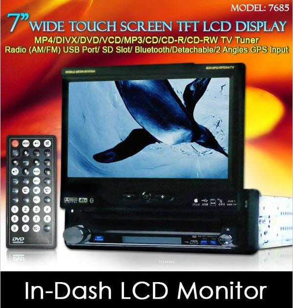 "DLAA 7"" In-Dash Touch Screen TFT Monitor DVD/ USB/ SD/ TV/ GPS Input"