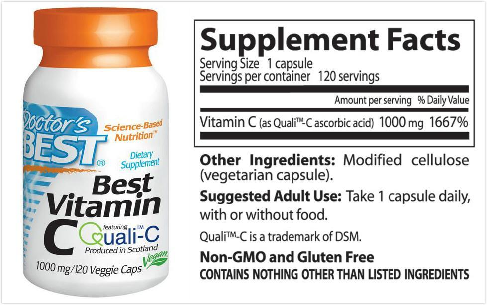 Doctor's Best, Vitamin C, European Quali-C, 1,000 mg (120 Vcaps)