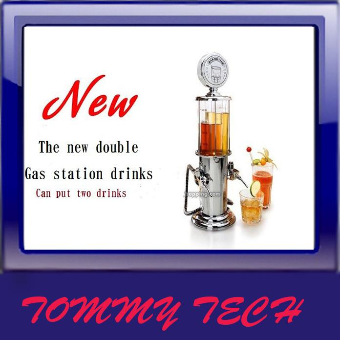 NEW DOUBLE GUN Silver Liquor Pump Gas Station Beer Alcohol Dispenser