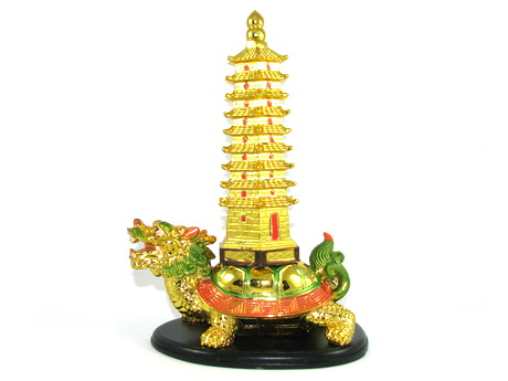 Dragon Tortoise with 9-Level Pagoda for Career and Education Luck
