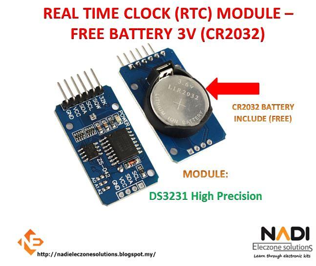 DS1307 DS3231 REAL TIME CLOCK (RTC) MODULE – FREE BATTERY 3V (CR2032)