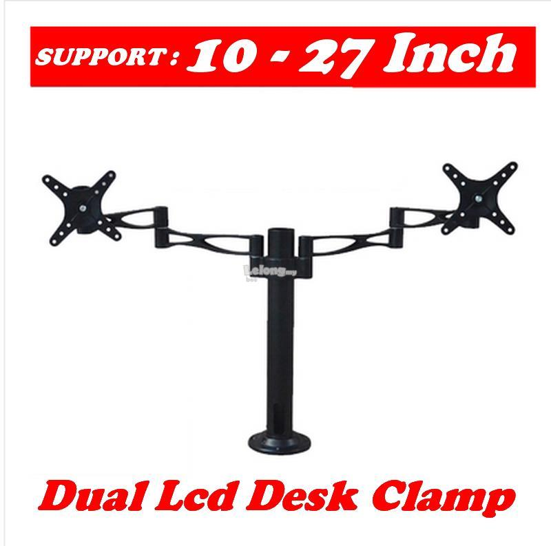 DUAL 2 LCD Desk Clamp Mount Bracket (SUPPORT 2 LCD UP TO 10~27 INCH)