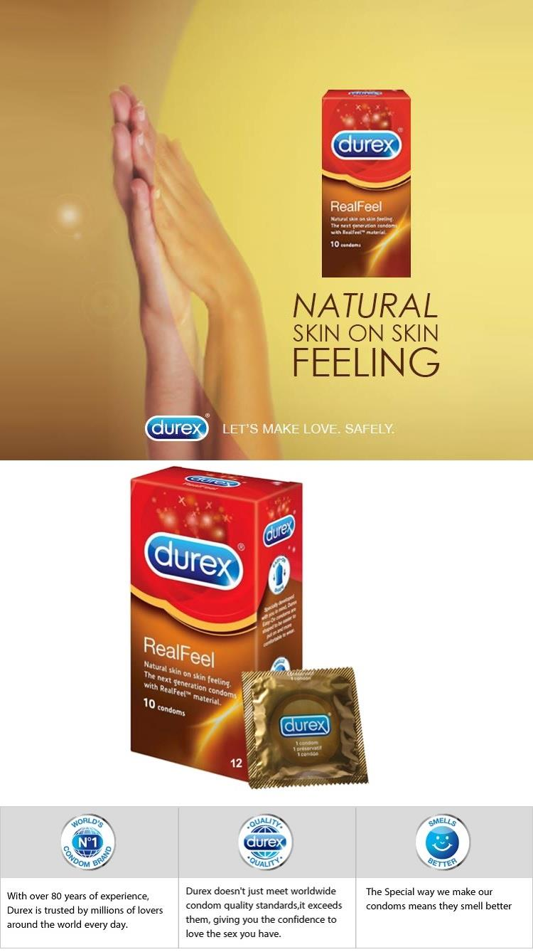 Durex Condom Real Feel Natural Skin 3 Pieces (with Free Gift)