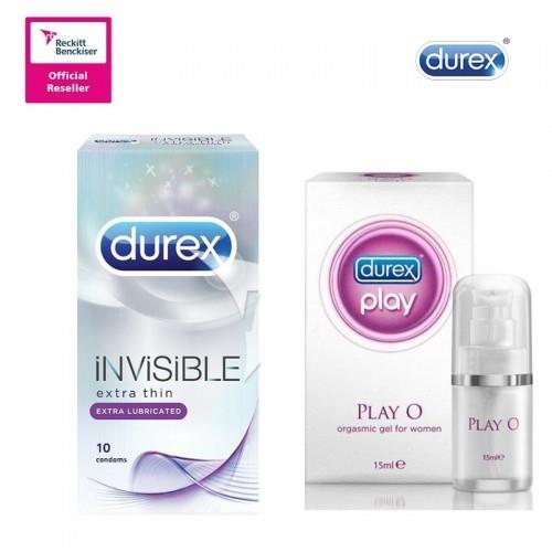DUREX INVISIBLE EXTRA LUBRICATED CONDOMS 10s + DUREX PLAY O ORGASMIC G