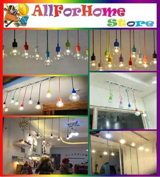 E27 COLOURFUL SILICONE PENDANT LAMP BASE HOLDER