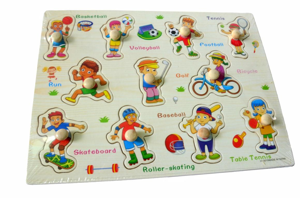 Educational Learning Wood Puzzle- Sports