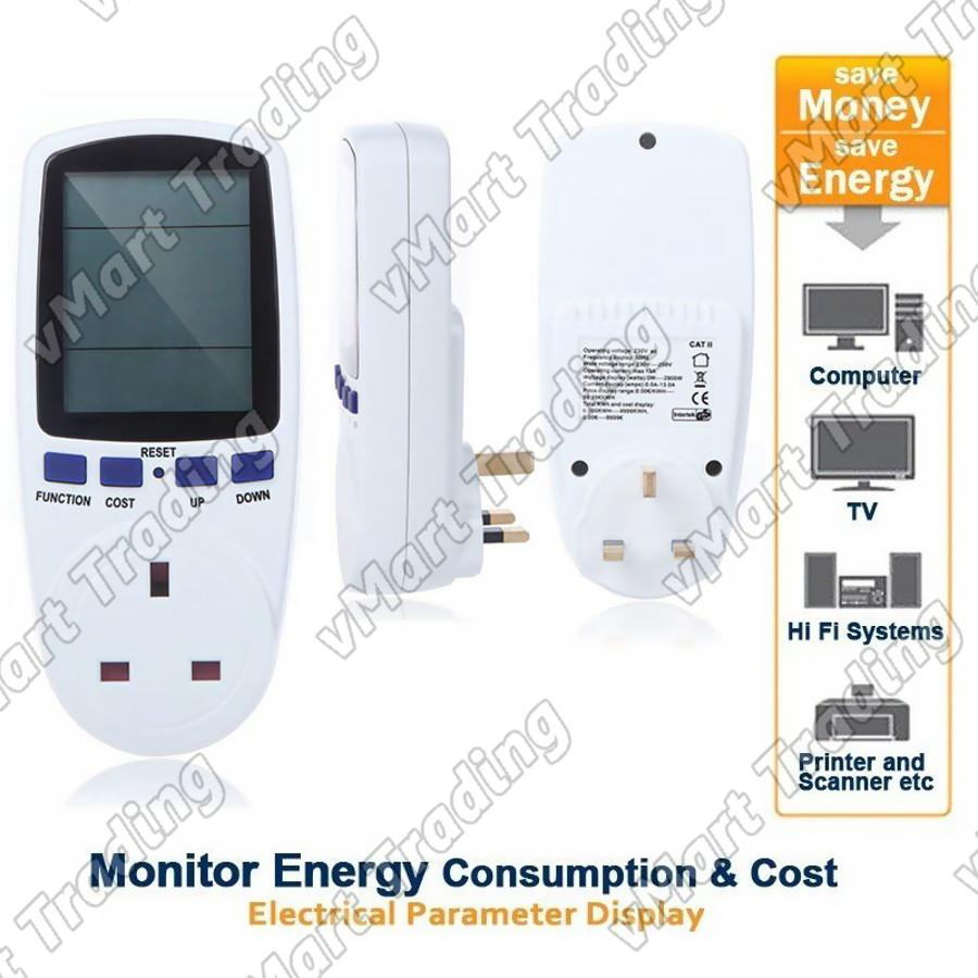 Electricity Energy Watt Voltage Amps Power Factor Meter
