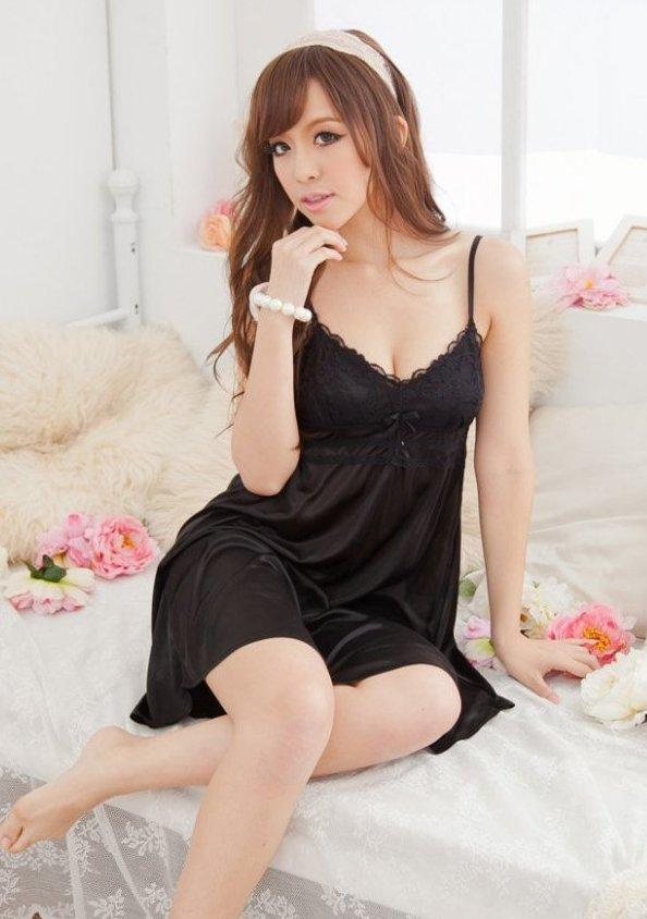 Elegant Lace Ice Silk Sexy Lingrie (Black)