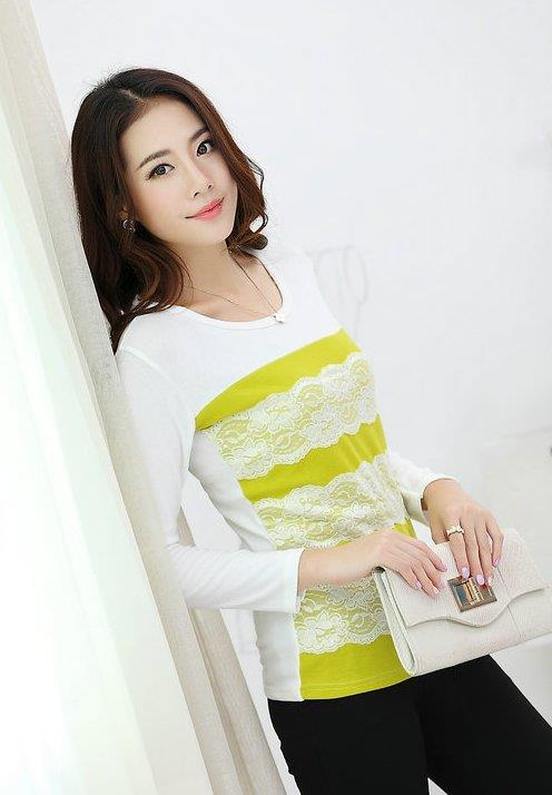 Elegant Lace Show-slim Long-sleeve Blouse (Apple Green)