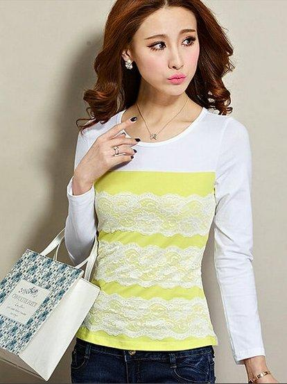 Elegant Lace Show-slim Long-sleeve Blouse (Light Yellow)