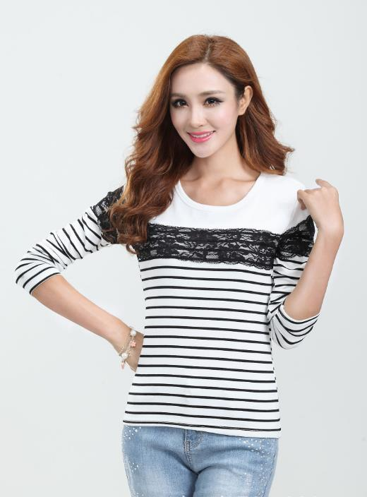 Elegant Lace Stripe Long-sleeve Blouse (Black)