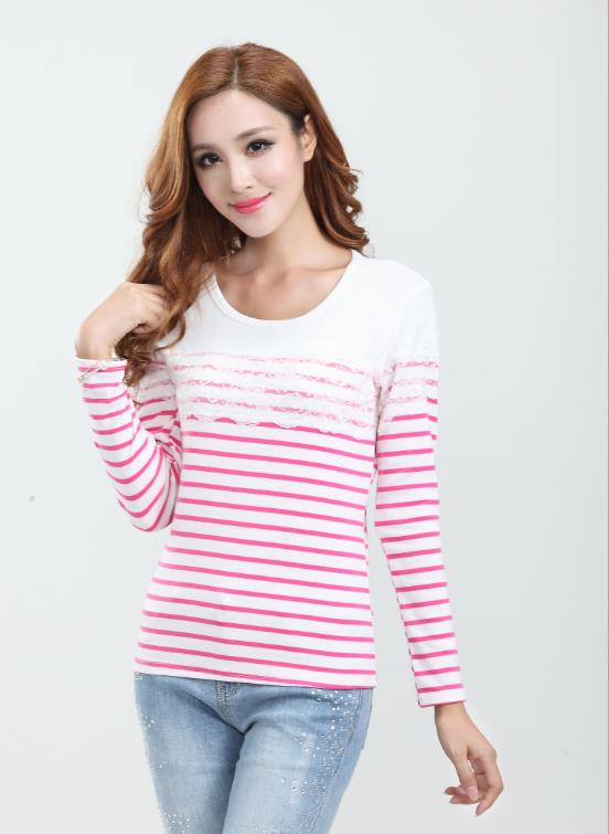 Elegant Lace Stripe Long-sleeve Blouse (Rose Red)