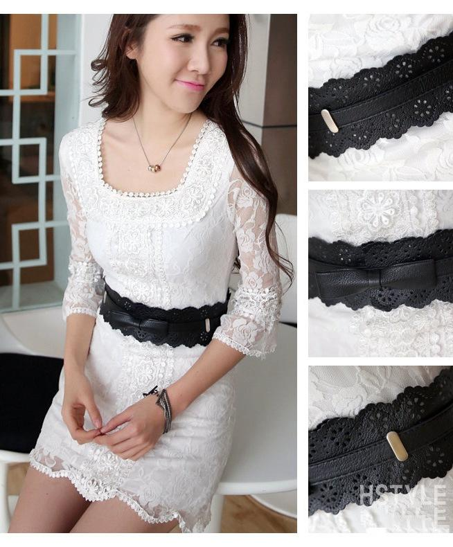 Elegant Ribbon Hollow Flower Side Belt 15500