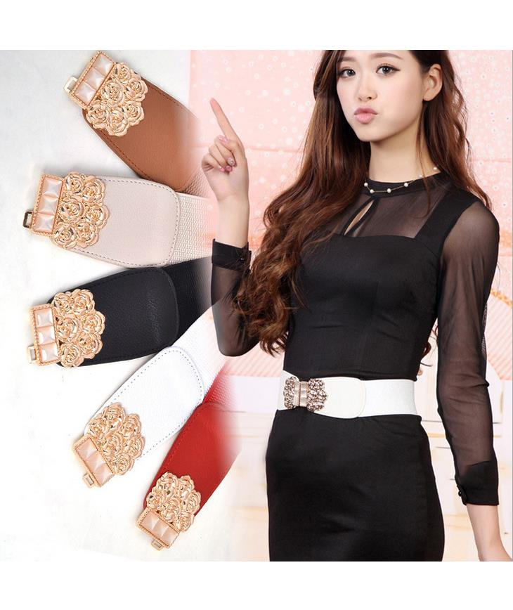 Elegant Rose Gold Buckle Flexible Wide Belt