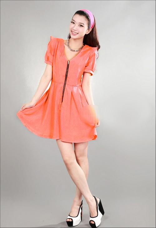 Elegant Short-sleeve Show-slim Dress (Orange Red)