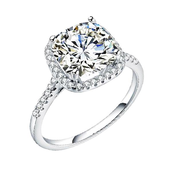 Elfi 925 Genuine Silver Engagement Ring P47 - Cushion Cut Solitaire