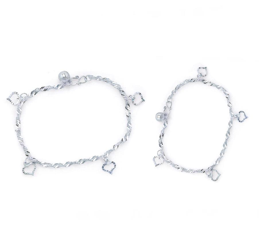Elfi 925 Genuine Solid Silver Water Wave Bracelet Anklet Set SBA-02