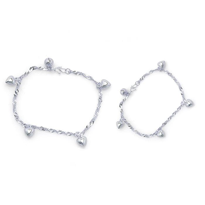 Elfi 925 Genuine Solid Silver Wave Hearts Bracelet Anklet Set SBA-03