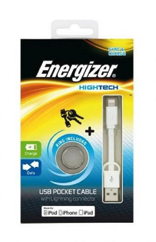 Energizer USB Pocket Cable White for iPhone. iPod. iPad