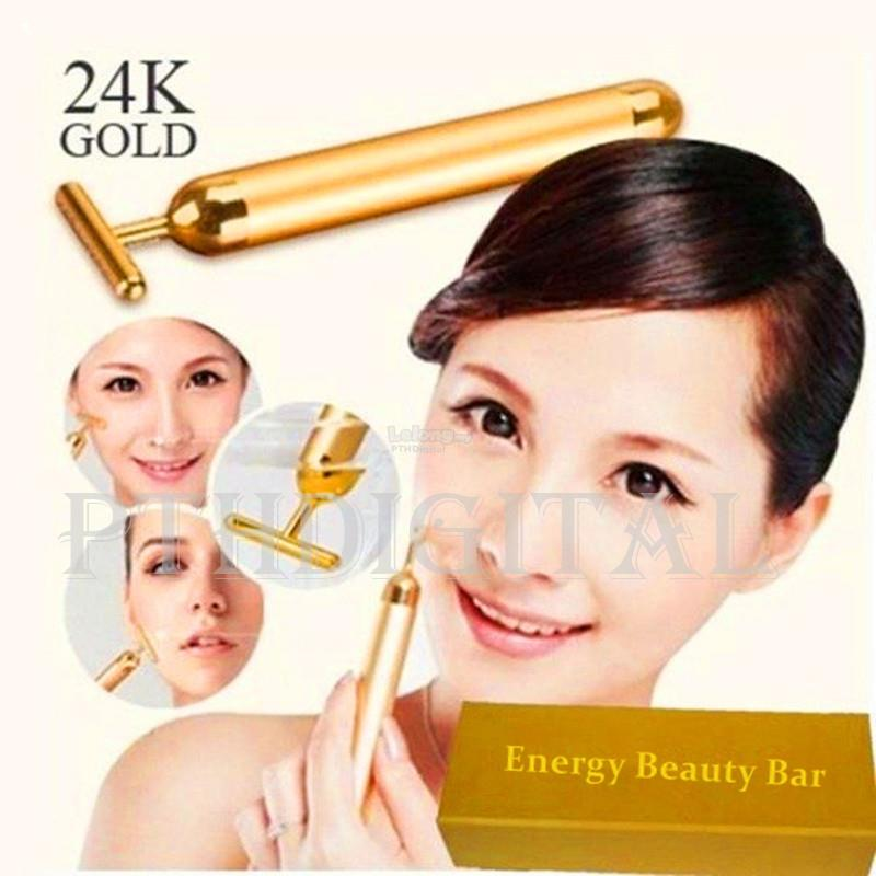 Energy 24K Gold Bar Beauty Firming Facial Massager Pulse Massage Roll