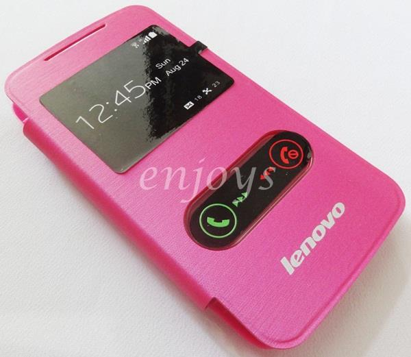 Enjoys: Premium Chrome PINK S View Flip Cover Case Pouch Lenovo A390