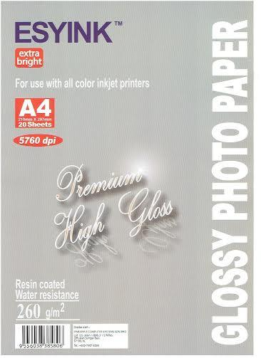 Esyink Premium High Glossy 260gsm (A4 X 20 sheets)