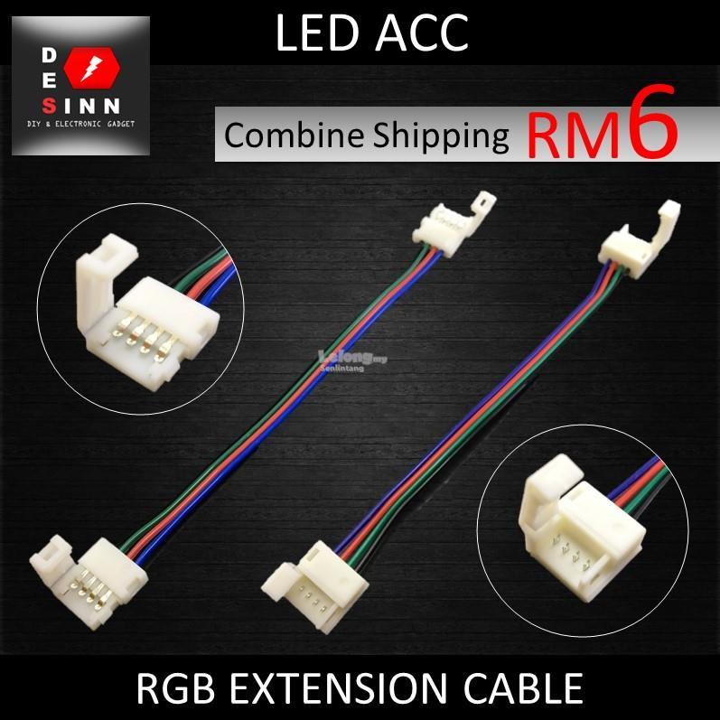 EXTENSION CABLE 4 PIN CLIP WIRE CABLE FOR 5050 RGB LED STRIP 17CM