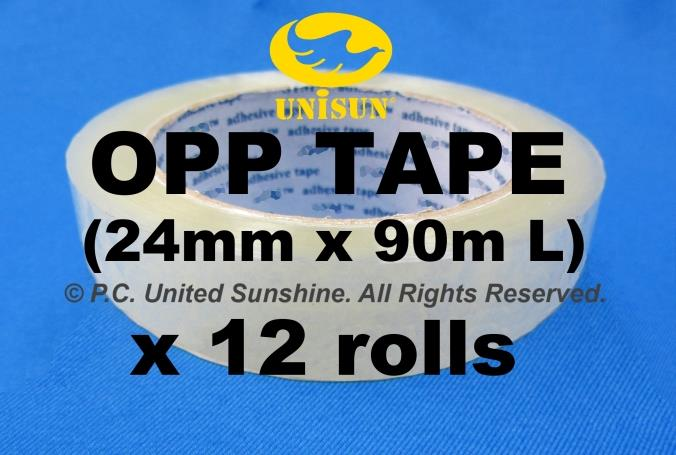"EXTRA LONG OPP TAPE 24mm (1"") x 90m L (100Y) x 12 ROLLS for Packaging"
