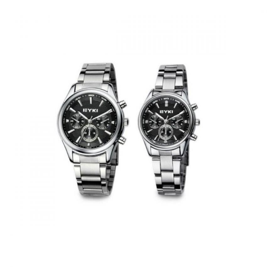 EYKI EET8581 Stainless Steel Couple Watch 1 Pair Silver Black