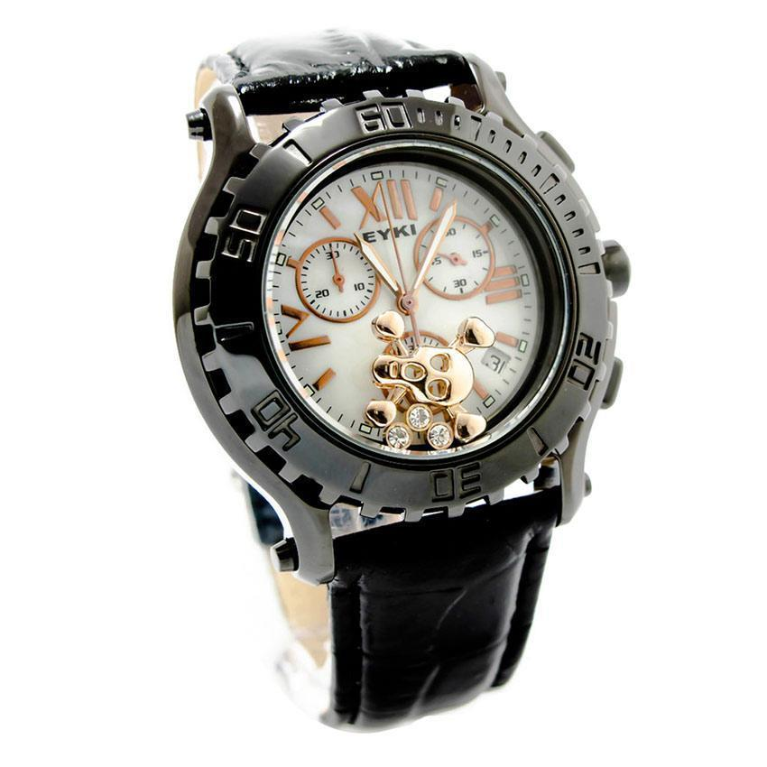 Eyki SS0081G Moving Skull Men's Watch Gold & Black