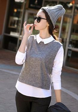 Fake-2-Pieces Long Sleeve Top (iKR053850)