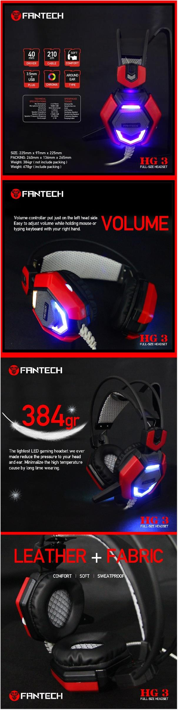 Fantech Medusa HG3 40mm Driver Wired Gaming Headset