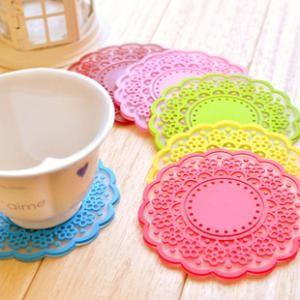 Fashion Candy Color PVC Soft Rubber Transparent Lace Coaster