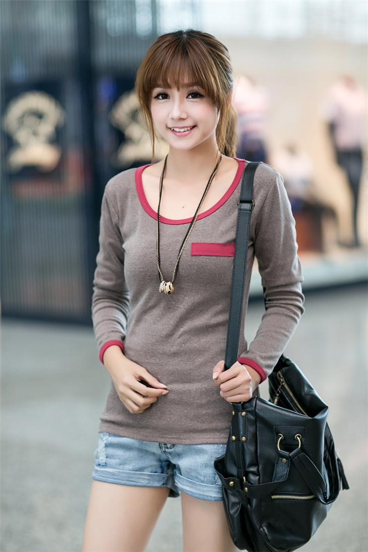 Fashion Fake-Pocket Long-sleeve Blouse (Coffee)