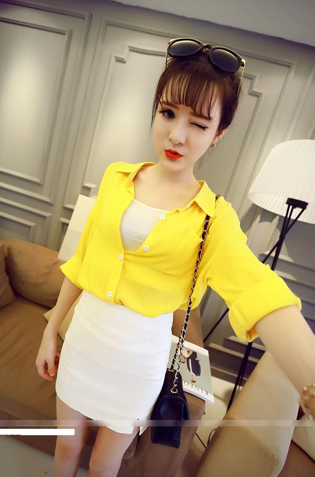 Fashion Folded-Sleeve Shirt (Yellow)