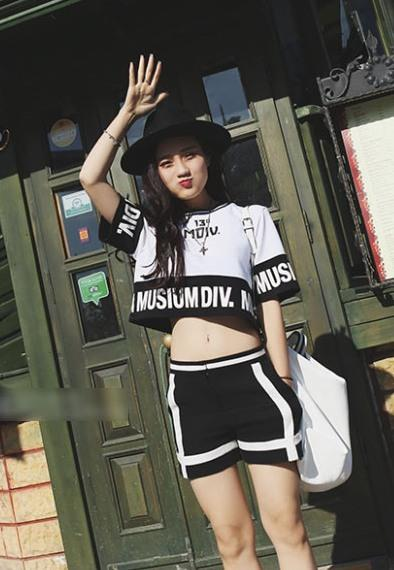 Fashion Hip Hop Printing Short T-shirt (White)