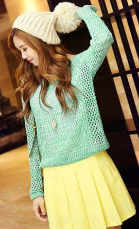 Fashion Loose Hollow Long Sleeve Knit Blouse (Cyan)